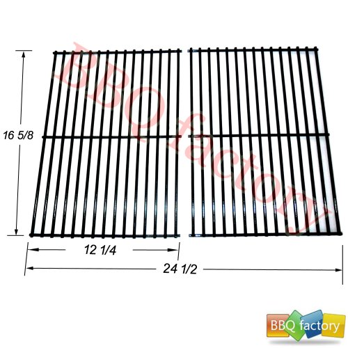 52932 Porcelain Steel wire Cooking Grid Replacement for Select Centro, Charbroil, Front Avenue, Fiesta, Kenmore, Kirkland, Kmart, Master Chef, and Thermos Gas Grill Models, set of 2