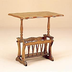 Oak Veneer Wood Tea Table with Magazine Rack
