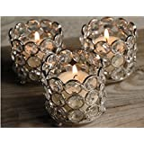 Crystal Votive Candle Holders For Weddings & Special Occasions Decoration Set Of 4 Pcs