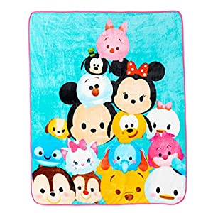 Disney Tsum Tsum Plush Throw (50'' x 60'', Pink Trim)