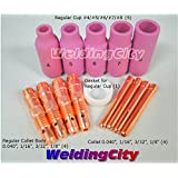 "Accessory Kit Cup-Collet-Collet Body Regular Setup 0.040""-1/16""-3/32""-1/8"" TIG Torch 17, 18 & 26"