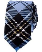 "TopTie Unisex New Fashion Black and Light Blue Plaid Skinny 2"" inch Necktie"