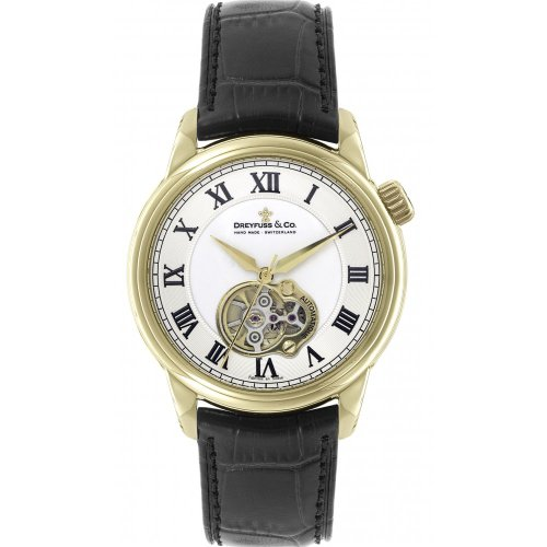 Dreyfuss DGS00092/01 Automatic Gold Plated Stainless Steel Case Black Calfskin Mineral Men's Watch