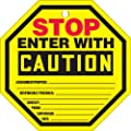 "Accuform Signs TAP805CTP Octo-Tag, Legend ""STOP ENTER WITH CAUTION"", 8"" Octagon Shape, 0.010"" Thickness, PF-Cardstock, Red/ Black on Yellow (Pack of 10)"