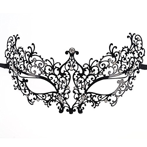 NEWSTYLE Luxury Laser Cut Metal Venetian Filigree Mask with Rhinestones, Pretty Masquerade Halloween Party Mask