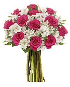 22 Long Stem Alstro-Rose Bouquet- Without Vase