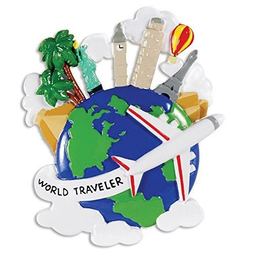 World Traveler Globe Personalized Christmas Tree Ornament