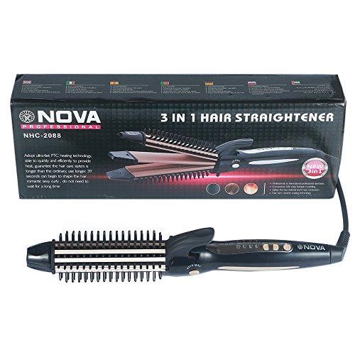 SuperSWK Hair Curler & Hair Straightener & Hair Perm 3 in 1, 1.2 Inch Tourmaline Negative Ionic TechnologySalon Ceramic Hair Iron, Black. (Hair Dryer 110v compare prices)