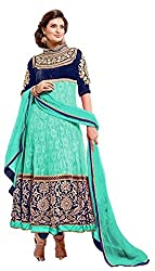 Riya Fashions Women's Net Unstitched Dress Material (R6899_Multicolor_Free Size)