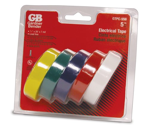GB Vinyl Electrical Tape, 20-Feet x 1/2-Inch, Assorted Colors,  5-Pack #GTPC-550