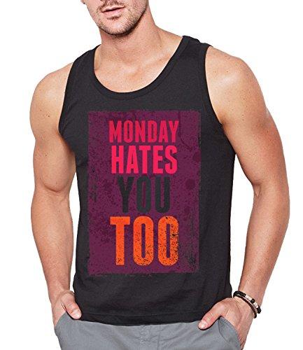 Monday Hates You Too Men's CLASSIC TANK TOP Sleeveless T-Shirt Nero Small
