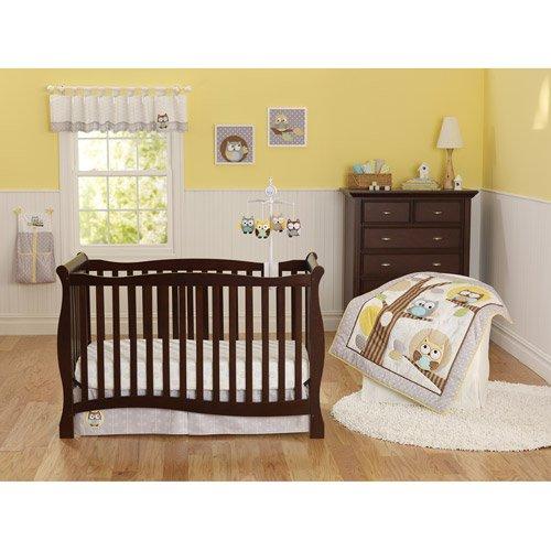 3pc Baby Girl Boy Gray Yellow Owl Polka Dot Crib Set