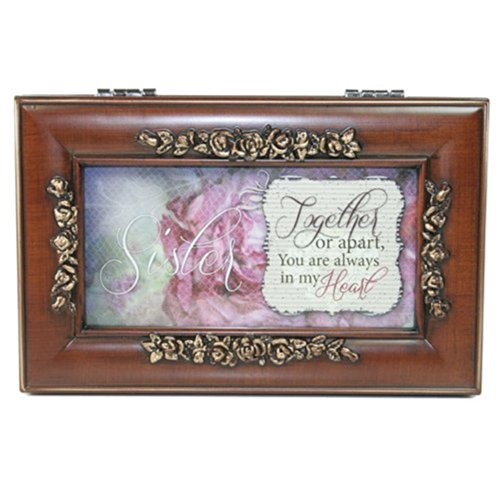 Cottage Garden Sister Faux Woodgrain Petite Rose Music Jewelry Box Plays Wonderful World