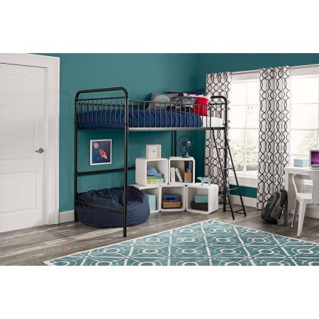 Better Homes and Gardens Kelsey Twin Metal Loft Bed, Sturdy metal frame with secure guardrails and ladder (Loft Beds For Kids With Desk compare prices)