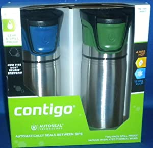 Contigo AUTOSEAL® Sport Stainless Steel Travel Mug 2 pack Blue / Green