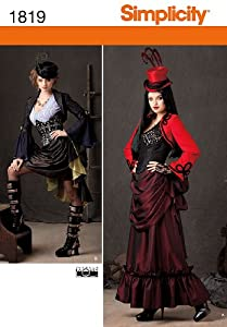 Simplicity 1819 Misses Steampunk Costume Sewing Pattern Size R5 (14-16-18-20-22) $8.35 AT vintagedancer.com