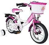 Kinderfahrrad 30.5cm (12 Zoll) Mädchen Kinderrad in Farbe Rosa & Weiß mit Stützrädern/ab 3 Jahren 9 KG Kinderrad Fahrrad Spielrad Rad