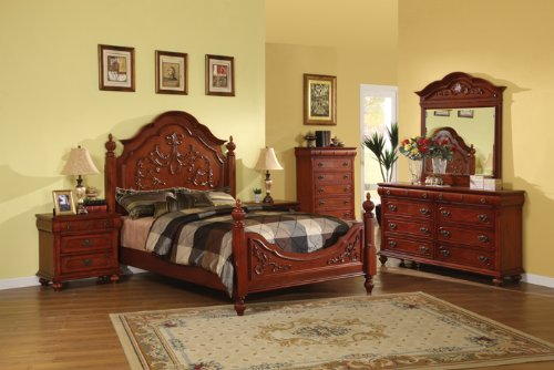 cherry wood bedroom and cabinets
