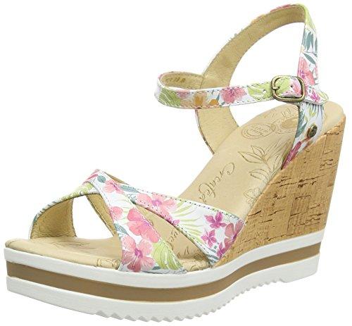 Panama Jack Estrella sandali con plateau, da donna, Bianco (Weiß (White Napa with flowers)), 38