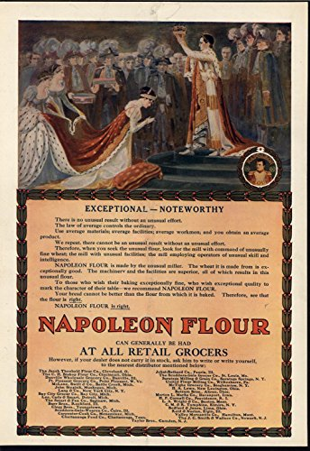 Napoleon Crowning Himself Empress Josephine 1909 antique color advertising print