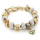 Long Way® Gold Plated Snake Chain Glass Crystal Beads