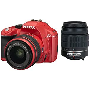 Pentax K-x 16203 Digital SLR Camera with DA L 18-55 and 50-200mm Lenses (Red)