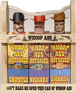 Wooden Crate Whoop Ass Hot Sauce Gift Set by Southwest Specialties