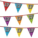 Number 17 Multi Colour Penant Banner Bunting Birthday Party Anniversary