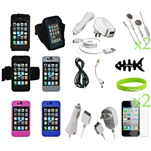 CrazyOnDigital Accessories Kit for New Apple iPhone 4G
