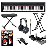 Yamaha P105B 88 Keys Digital Piano Black Bundle with Knox Double X-Style Keyboard Stand,Knox Large Keyboard Bench,Piano Pedal, Full-Size Headphones , Keyboard Dust Cover and FastTrack Keyboard Method Starter Pack
