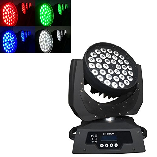 Yiscortm Stage Lighting Led Zoom Moving Head Spot Light 36*10W Rgbw (4In1) Full Color 36Leds Dmx512 15Ch For Dj Disco Club Home Garden Party Wedding Effect