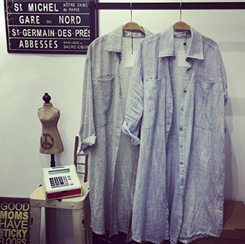 ange select 着心地 アップ さらっと 羽織れる ロング シャツ カーディガン 長袖 レディース おしゃれ ブラウス 袖 ロールアップ きれいめ 紫外線 日焼け 予防 UV 対策 や 肌寒い 時期 にも (ブルー)