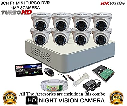 Hikvision-DS-7108HGHI-F1-Mini-8CH-Dvr-,-8(DS-2CE56COT-IR)-Dome-Camera-(With-Mouse,-2TB-HDD,-Bnc&Dc-Connectors,Power-Supply,Cable)