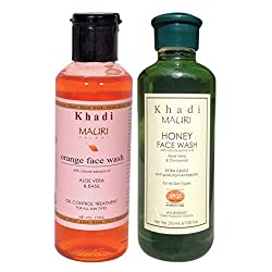 Khadi Mauri Orange & Honey Herbal Face Wash Combo Pack of 2 Ayurvedic Natural 210 ml each