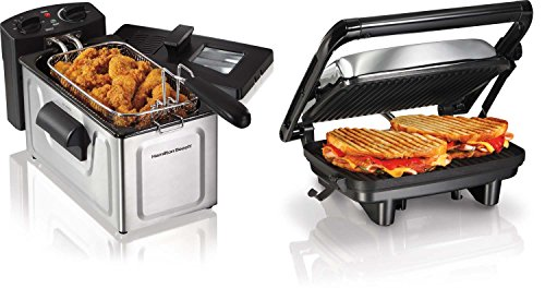 Hamilton Beach 25460Z & 35200 Gromet Panini Sandwich Press & Electric Deep Fryer (Hamilton Beach Deep Fryer Parts compare prices)