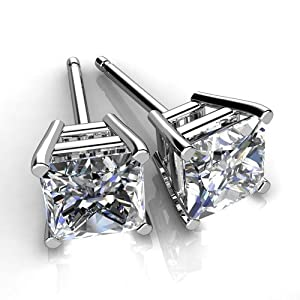 Diamond Impressions DI2004348 Certified 4 Ct. 14k White Gold Princess Cut Diamond Stud Earrings D-E VVS2