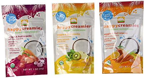 Happy Creamies Organic Superfoods Veggie & Fruit Snacks With Coconut Milk Variety Pack of 6 - 1
