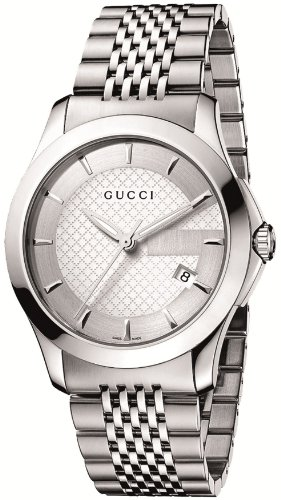 Gucci Men's YA126401 G-Timeless Medium Silver Dial Stainless-Steel Watch