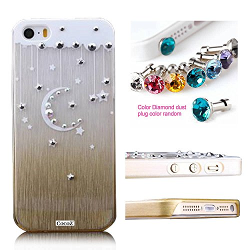 Cocoz® Iphone 5S Case Rhinestone Diamond Graphic Design Thin Shell For Iphone 5S Retail Packaging (Champagne Gold With Moon)