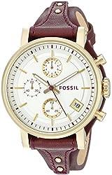 Fossil Women's ES3841 Original Boyfriend Chronograph Leather Watch - Red