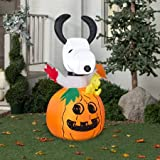 Gemmy Airblown Inflatable 5 X 2.5 Snoopy In Pumpkin Halloween Decoration