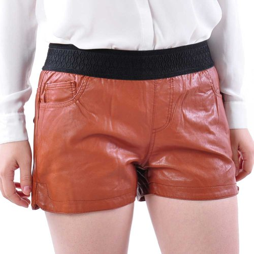 May&Maya Women's Faux Leather Mini Shorts Brown - Product Technical ...
