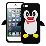 New Cute Penguin Silicone Soft Case Cover for Apple iPhone 5 Black