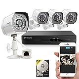 Sistema de Vigilancia Zmodo de cuatro canáles y cámaras 720p HD Simplified PoE NVR para exterior e interior con disco duro de 1TB
