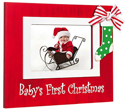 Red Baby'S First Christmas Stocking 4X6 Wood Photo Frame