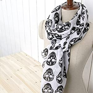 Skull Print Shawl Scarf - WHITE