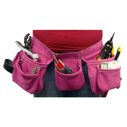SafetyGirl ICA-ST-1325 Heavy Duty Suede Leather Tool Belt with 9 Pockets, Dark Pink