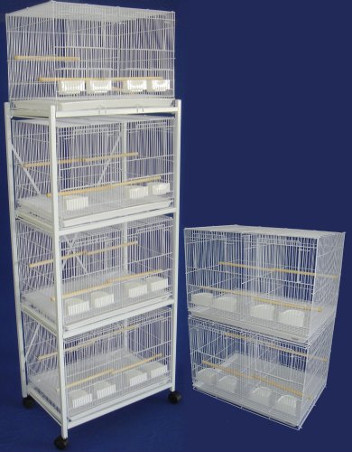 Brand New Lot of Six Aviary Breeding Bird Cage 24x16x16 W/divider W/stand, White