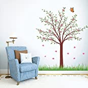 DeStudio Tree With Flower, Multi Color, Wall Stickers (Wall Covering Area : 100cm X 135cm)-11445
