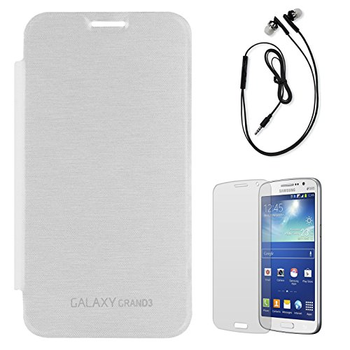 DMG Smooth PU Leather Back Replace Flip Cover Case For Samsung Galaxy Grand Max SM-G7200 (White) + Black Earphones + Matte Screen